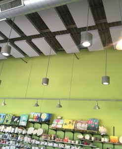 Clay Corner Studio Green Walls 242 Acoustic Panels on Ceiling