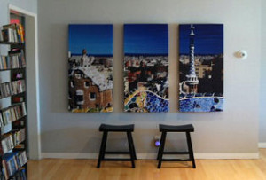GIK Acoustics Acoustic Art Panel 3 panel span of city artwork