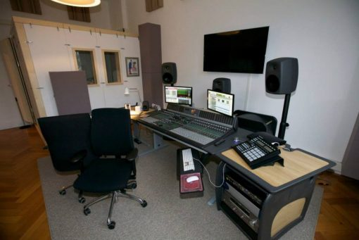 Soffit bass traps and movable acoustic panels in mastering room