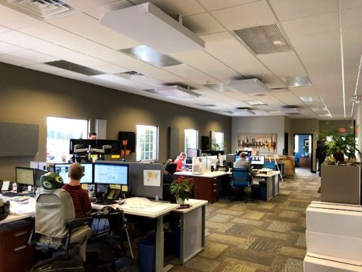 Shaun Schroeder GIK Acoustics Insurance Office Ceiling Green Bay 242 Acoustic Panels Cloud Brackets