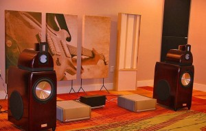 GIK Acoustics Acoustic Art Panel at Trade show with 2 channel listening room