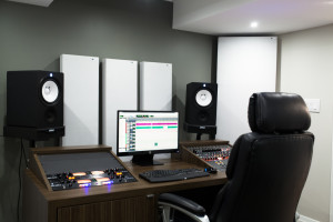 Recording Studio Acoustics using GIK Acoustics at Mike Evo's Studio by placing Acoustic panels behind the monitor and corner bass traps in front of the listening position to absorb low end and SBIR
