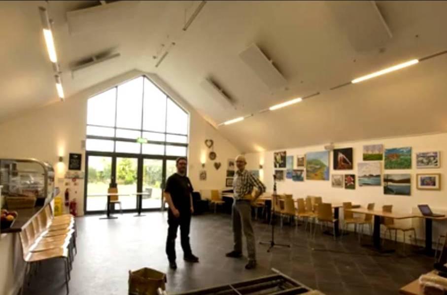 village centre Cafe acoustic panel installation