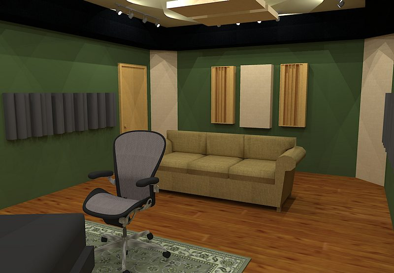 GIK Acoustics Room Layout with back wall diffusers and absorption behind listening position