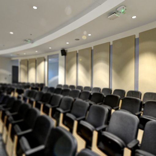 University Acoustics, GIK Acoustics Spot Acoustic Panels in Georgia Tech Classroom Lecture Hall promote speech clarity throughout the room