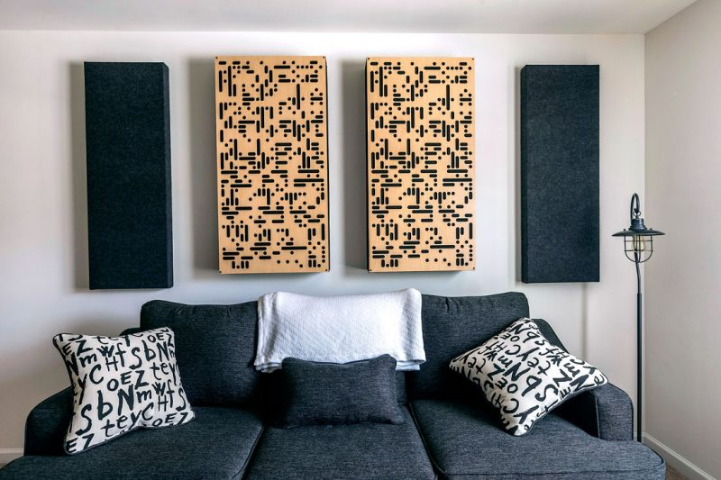 Listening room design using GIK Acoustics attractive absorber / diffuser combination 2Da Alpha Series Panels alongside 242 acoustic panels above couch