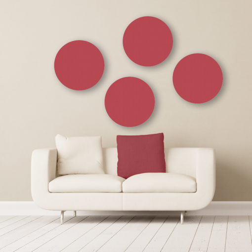 GIK Acoustics circle acoustic panels pitlochry red with couch