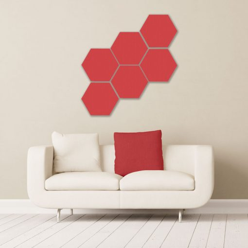 GIK ACoustics hexagon acoustic panel small red color above couch