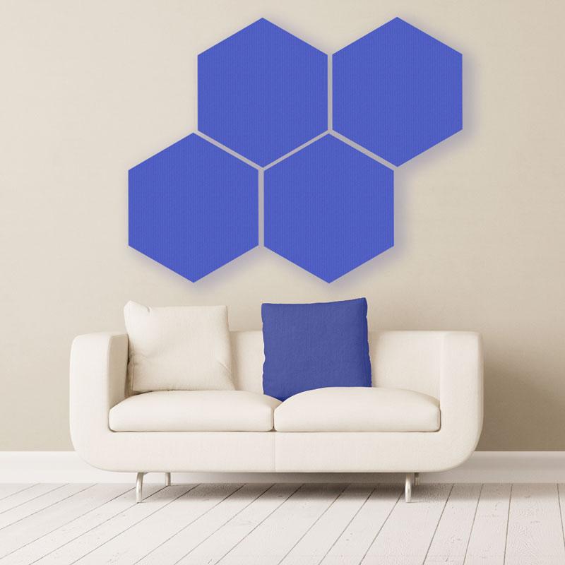 Gik acoustics hexagon acoustic panels large blue above couch