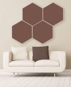 Gik acoustics hexagon acoustic panels large coffee color above couch