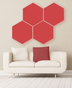 Gik acoustics hexagon acoustic panels large red color above couch