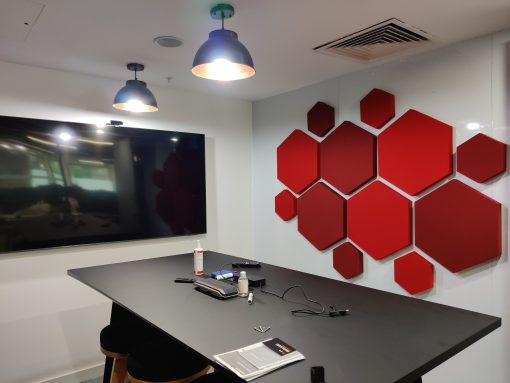 office acoustics using decorative hexagon acoustic panels in a conference room