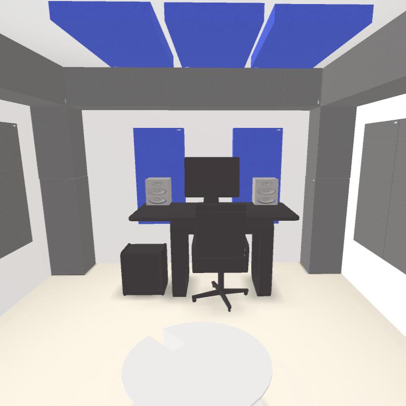 GIK Acoustics Mixing Mastering Control room plan interior 3D model