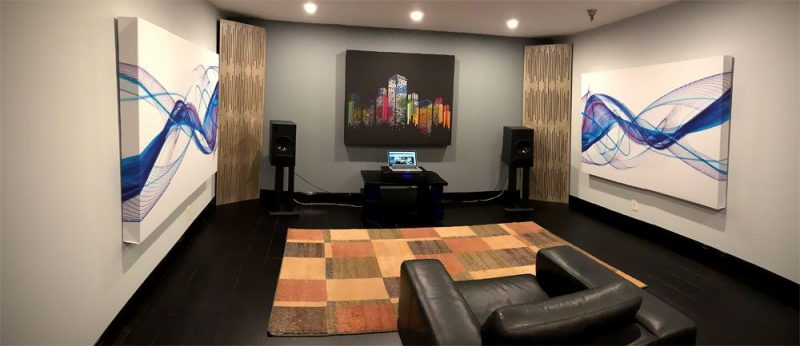 GIK Acoustics Demo Room with art panels and corner bass traps tri traps