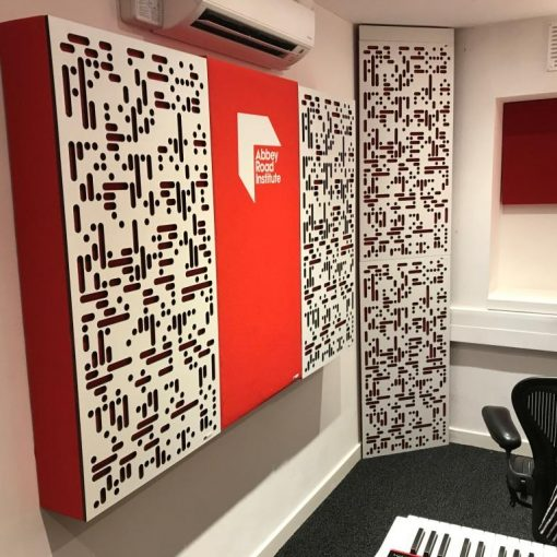 Abbey Road Institute Studio S6 close up of GIK Acoustics ArtPanel Alpha Series Panels in first reflection points and Corner CT Alpha Bass Trap in corners behind the listening position