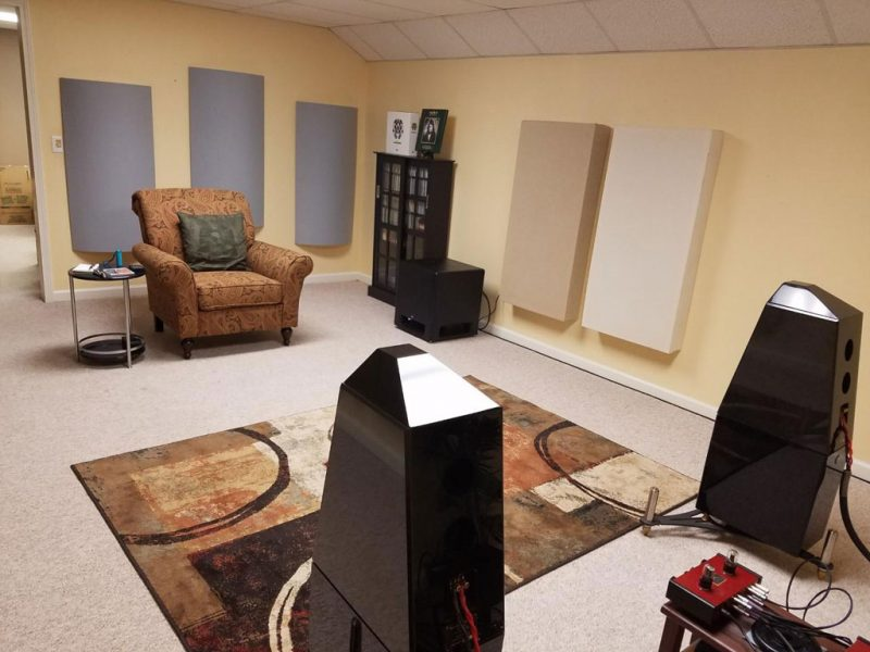 Listening room set up Dan Liberdi using GIK Acoustics Polyfusors and Bass Traps on side walls