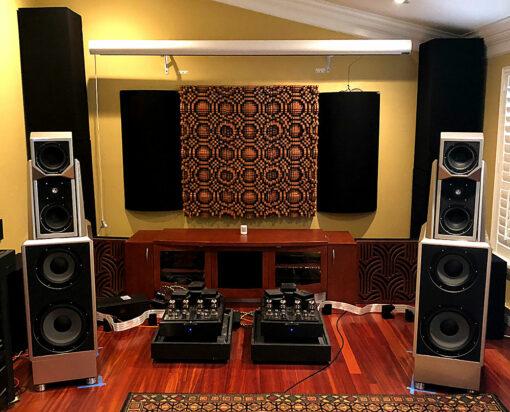 """GIK Acoustics Gotham N23 5"""" Quadratic Diffusors on back wall of 2 channel listening room"""