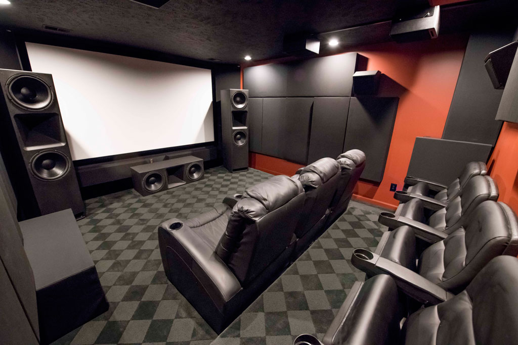 GIK Acoustics home theatre with bass traps
