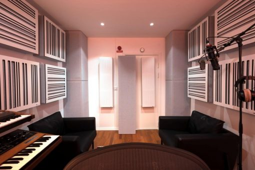 GIK Acoustics Alpha Series panels and Soffit Bass Traps in Ollipop Studio