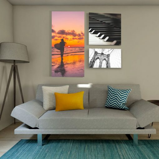 Acoustic Art Panels different sizes above couch in office or resident