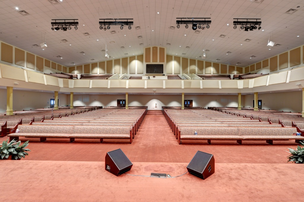 Back view of Church Acoustics and house of worship using GIK Acoustics panels on walls